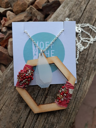 Solitude Necklace - Hexagon Red