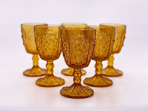 Vintage 'Daisy & Button Thumbprint Panel' Amber Goblet