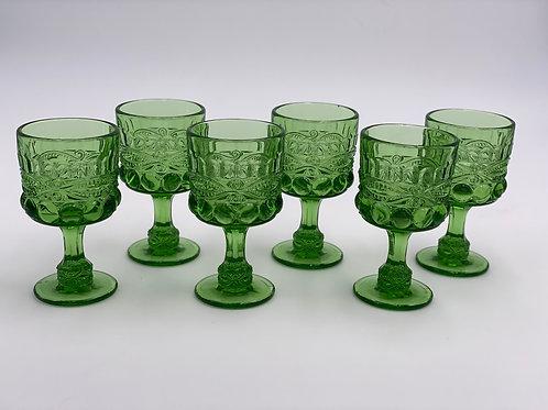 Vintage 'Eye Winker' Green Wine Glass