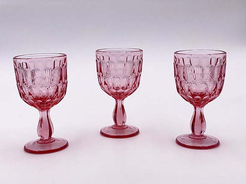 Vintage 'Thumbprint' Wine Glass in 'Pink'
