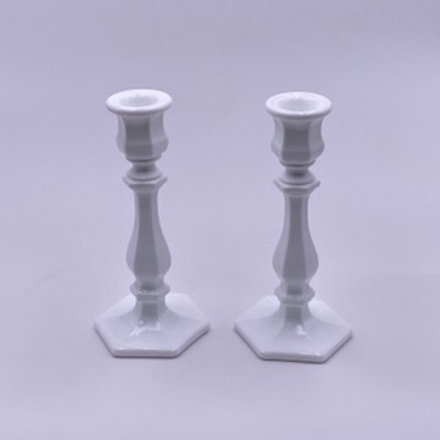 Mosser Glass 'Candlesticks' in 'Milk White' (Set of Two)