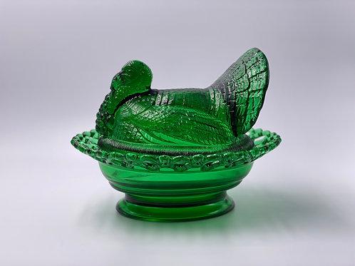 Mosser Glass 'Turkey on Basket' in 'Green'