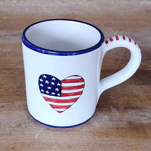 'Patriotic Heart' Mug (Individual) - Blue Rim