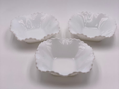 Vintage 'Diamond' Bowls in 'Opaque Milk Glass'