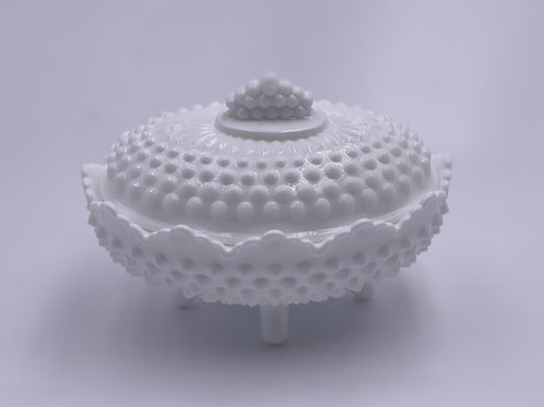 Vintage 'Hobnail' Candy Jar in 'Milk White'