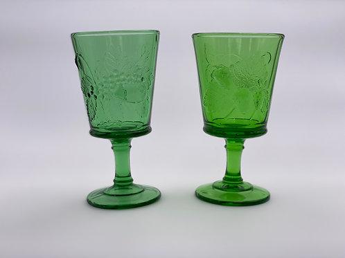 Vintage 'Strawberry & Currant' Green Goblet