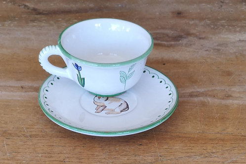Boxed Set of (4) 'Bunny' Teacups & Saucers