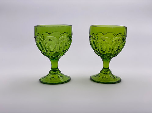 Vintage 'Moon & Stars' Green Wine Glass