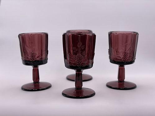 Vintage 'Panel Grape' Amythest Goblet