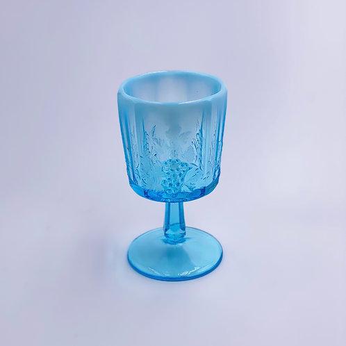 Vintage 'Panel Grape' Light Blue Opalescent Goblet