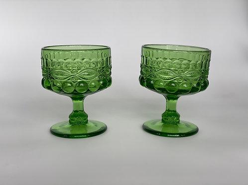 Vintage 'Eye Winker' Green Champagne Coupe
