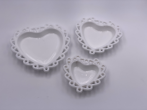 Trio of 'Nesting' Heart Dishes in 'Milk White' (Set of Three)