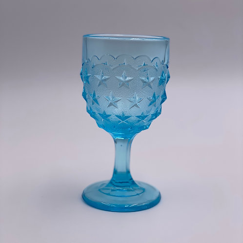 Vintage 'Stippled Star' Light Blue Goblet