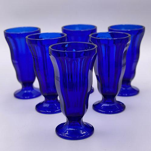 Vintage 'Sundae Cups' in Cobalt Blue (Set of 6)