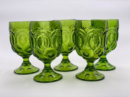 Vintage 'Moon & Stars' Green Goblet