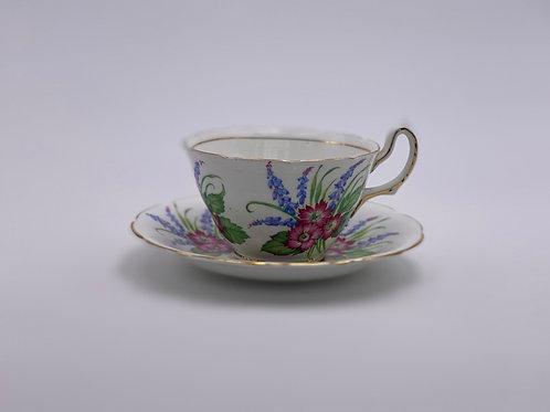 Vintage Royal Stuart 'Floral & Bluebells' Teacup & Saucer