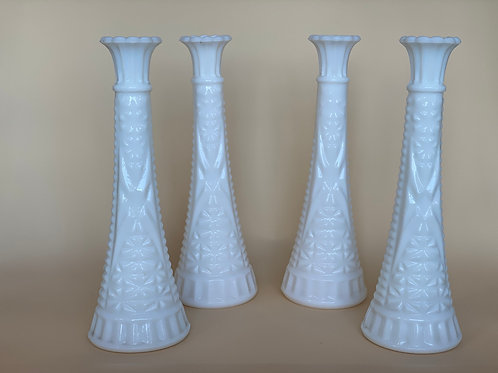 Vintage Milk Glass Flower Vase (Tall) - Set of 4