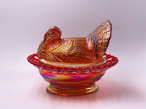Mosser Glass 'Turkey on Basket' in 'Rose Gold Carnival'