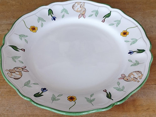 'Bunny' Round Scalloped Platter/Charger