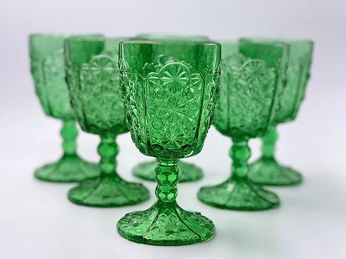 Vintage 'Daisy & Button Thumbprint Panel' Green Goblet