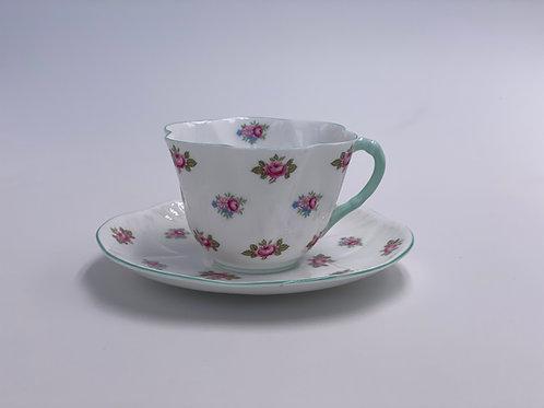 Vintage Shelley 'Rosebud' Teacup & Saucer - Mint Trim