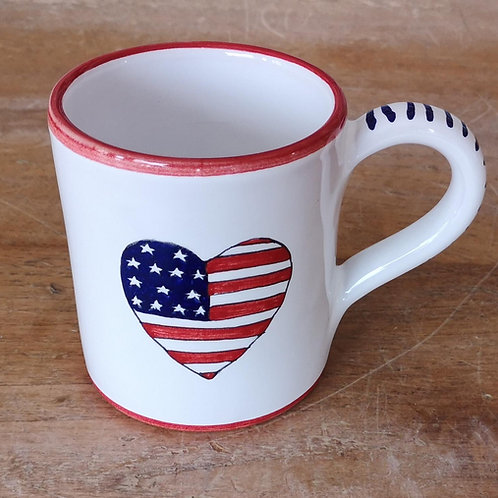 'Patriotic Heart' Mug (Individual) - Red Rim