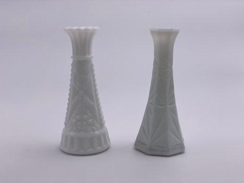 Vintage Milk Glass Flower Vases (Short) - Set of 2
