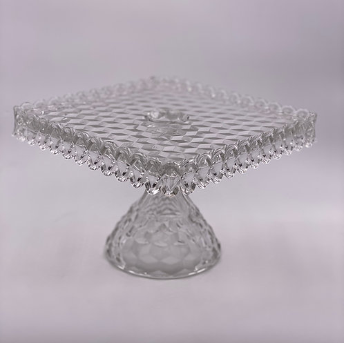 Vintage 'Fostoria' Square Cake Stand in 'Crystal'
