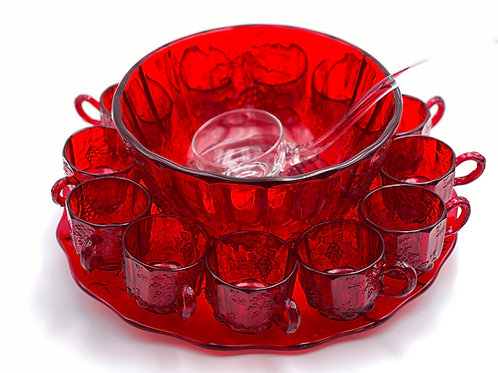 Vintage 'Panel Grape' Punch Bowl Set in 'Ruby Red'