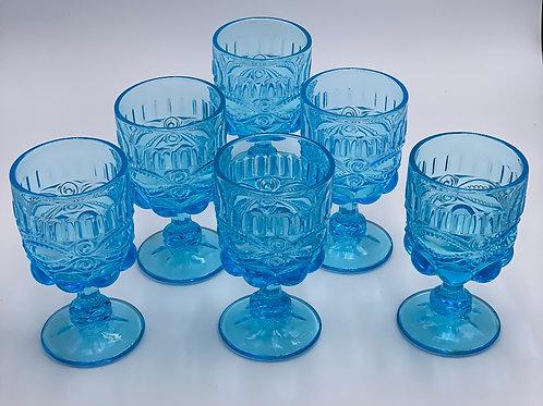 Vintage 'Dot & Lace' Light Blue Goblet