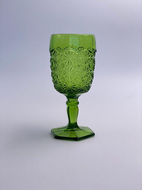 Vintage 'Fenton Glass' Green Goblet