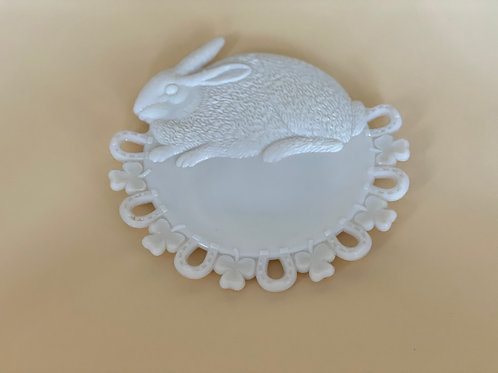 Vintage 'Lucky Bunny' Plate in 'Milk White'