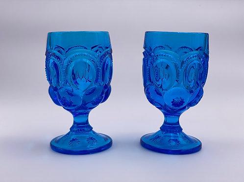 Vintage 'Moon & Stars' Blue Goblet