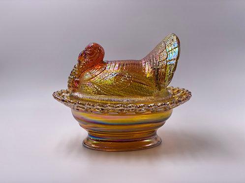 Mosser Glass 'Turkey on Basket' in 'Marigold Carnival'
