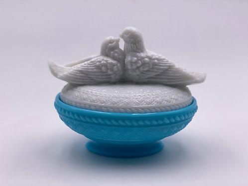 Vintage 'Lovebirds' in 'Milk Glass & Blue'