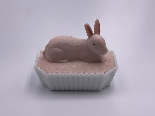 Vintage Westmoreland 'Bunny' Candy Dish in 'Pink & Milk White'