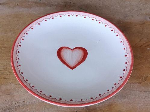 Boxed Set of (4) 'Heart' Dessert Plates