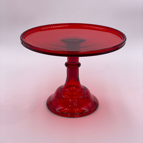 """Mosser Glass 10"""" Cake Stand in 'Red'"""