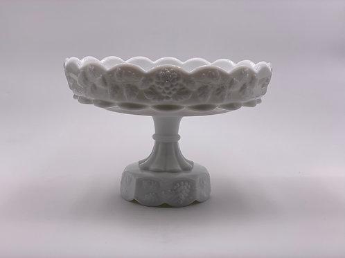 Vintage 'Paneled Grape' Pedestal Dish in 'Milk White'