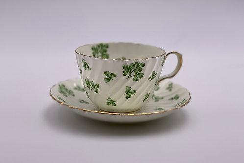 Vintage Aynsley 'Shamrock' Green Teacup & Saucer
