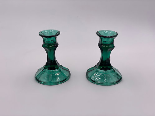 Vintage Glass Candlesticks in Juniper Green (Set of Two)