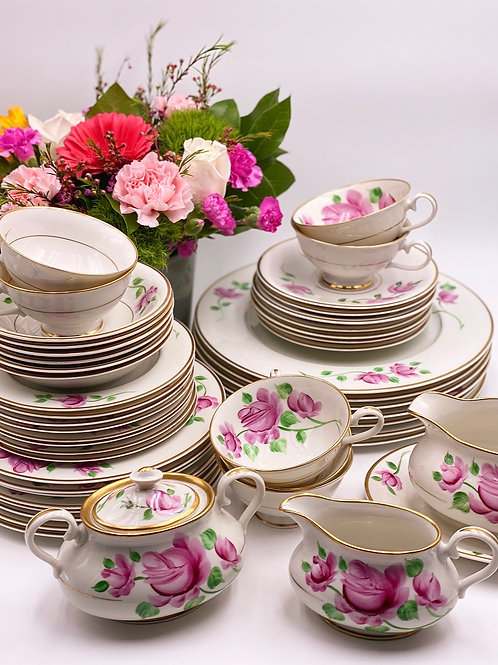 Vintage Kirk China in 'Hand-Painted' Pink Roses - 52 Piece Set (Serves 8)