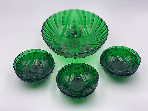 Vintage 'Anchor Hocking' Burple Bowls in 'Forest Green' (Set of 7)