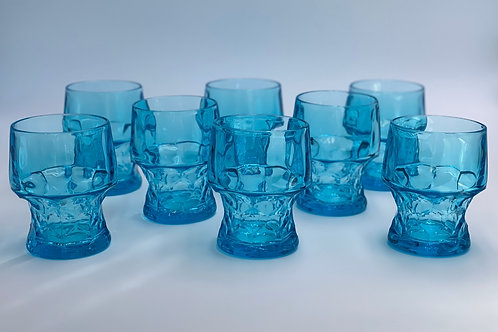 Vintage 'Georgian' Blue Glasses (Small) - Set of 8