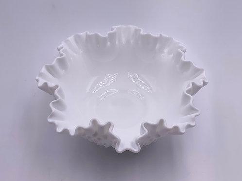 Vintage Fenton 'Hobnail' Ruffled Bowl in 'Milk White'