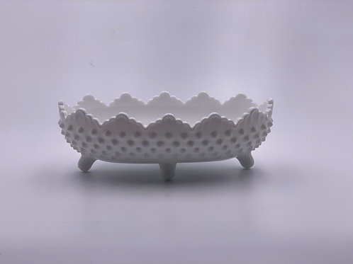Vintage 'Hobnail' Footed Candy Dish in 'Milk White'
