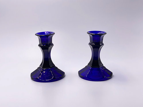 Vintage 'Candlesticks' in 'Cobalt Blue' (Set of Two)
