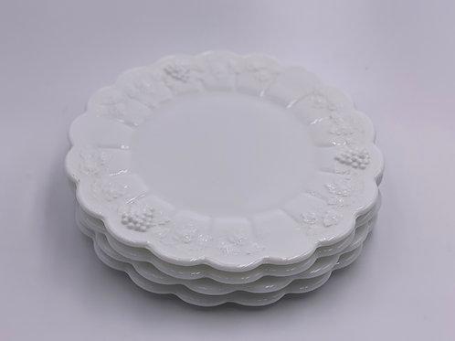 Vintage Westmoreland 'Paneled Grape' Luncheon Plate in 'Milk White'