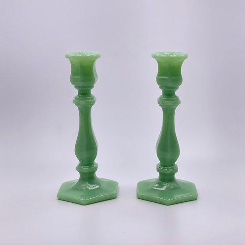 Mosser Glass 'Candlesticks' in 'Jadeite' (Set of two)