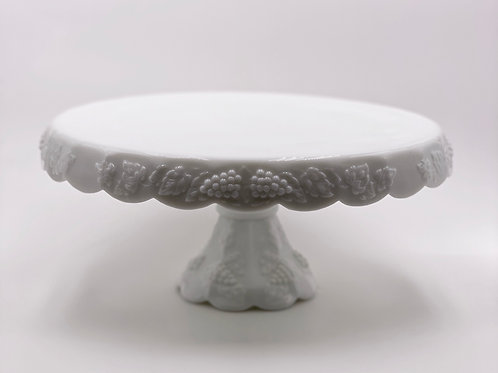 Vintage 'Paneled Grape' Round Cake Stand in 'Milk Glass'